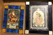 Antique Postcard enclosed in Leaded Stained Glass One Cent Stamp 1908 Cool!!