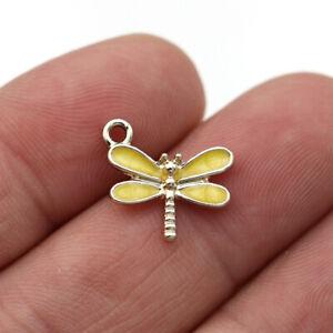 10Pcs Enamel Gold Dragonfly Charm Pendant Jewelry Making Earrings Bracelet DIY