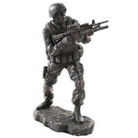 """7.25"""" Soldier in Combat Statue Military Army Marines Navy Sculpture Warfare"""