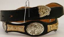 BLK LEATHER SCALLOPED COWBOY WESTERN SILVER FLORAL CONCHO GOLD CHAIN BELT SZ 28