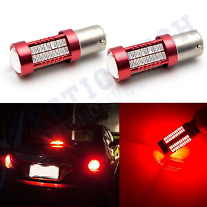 2x Red 1157 2357 BAY15D LED Tail Brake Stop Light Bright 106-SMD Bulb for Toyota