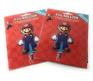 Super Mario Party Balloons Mario Bros Nintendo Giant Foil Helium Twin Pack NEW