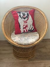 Small Vintage Boho Mid 20th Century Rounded Peacock Rattan Chair With Cushion
