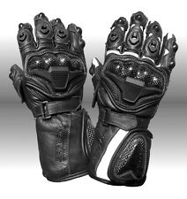 Rayven Fury II Leather Knuckle Protection Motorbike Sports Gloves Pre-curved