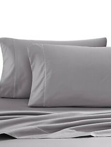 Wamsutta 500-Thread-Count PimaCott Full Sheet Set in Solid Grey, NEW