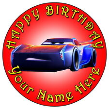 "DISNEY CARS JACKSON STORM - 7.5"" PERSONALISED ROUND EDIBLE ICING CAKE TOPPER (2)"