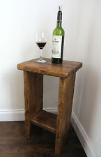 SOLID RUSTIC PLANK WOOD FARMHOUSE LAMP TABLE / SIDE TABLE / TELEPHONE TABLE