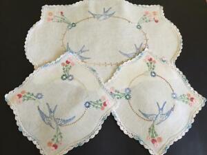 Sweet Bluebirds 3 Piece Hand Embroidered Vintage Duchess Set - Crocheted Edgings