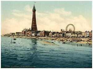 Blackpool From Central Pier Vintage photochrome print ca. 1890