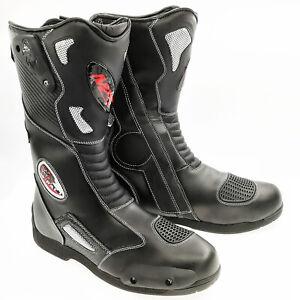 Motorcycle Black Armoured Leather Waterproof Motorbike Race Sport Boots
