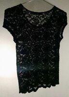 Katie K Womens Black Lace top Women's Blouse Size Medium
