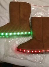 Girl  Light Up  LED Brown Faux Suede Boots size 5.5US.  (3 UK). (36 EU)