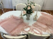 2 VTG Net? LACE PANELs Curtain drapes window shabby ruffle pink
