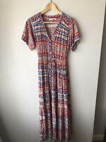 STYLE FASHION Summer Maxi Tiered Button Up Flowy Dress Multicolour Sz XL