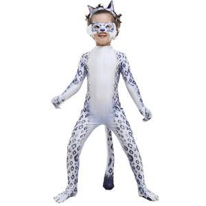 Homemade Kids Cute Snow Leopard Bodysuit Zoo Animal Zentai Christmas Costume
