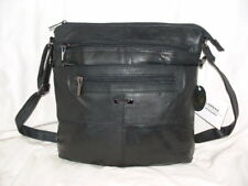 Lorenz Soft Napa Leather Zip Top Shoulder Across Body Messenger Bag Handbag Blk
