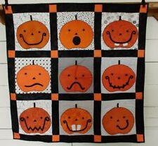 "Handmade Halloween Pumpkins Quilted Quilt Throw Wall Hanging 38"" x 38"""