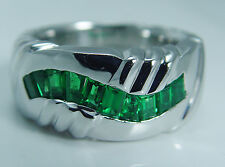 Charles Krypell Platinum Colombian Emerald wide Band Mens Ring for a Man 47.9 gr