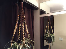 Macrame Plant Hanger Coffee and Sand 8 BEADS