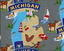 The Wolverine State of Michigan Great Lakes Map Fleece Fabric Print A244.04