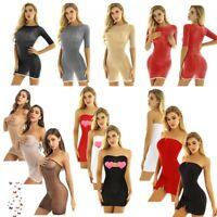 Womens Sheer See-through Micro Mini Tube Dress Nightwear Strapless Nightclub Top