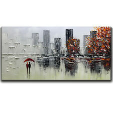 Wall art Figure Cityscape 3D ART Oil painting on canvas unframed 24x48inch