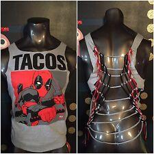 DIY Cut Up VTG Marvel Deadpool T Shirt L XL Comic Book Taco Blind Al Weasel Gray