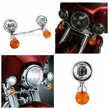Motorcycle LED Passing lights Turn Signals Set For Honda Suzuki Kawasaki Harley