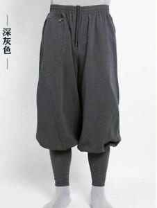 High quality Shaolin monk kung fu pants, Buddhist Zen martial arts linen pants
