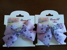 Pretty Pair of Purple Hair Bows With Large Rhinestones