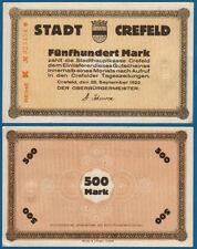 CREFELD KREFELD  500 Mark 1922 fast Kassenfrisch