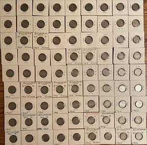 Lot of 81 - Ecuador 20 Centavos 1959 - 1972