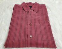 Indigo Palms Tommy Bahama Men Large Long Sleeve Button Front Burgundy Shirt P-13
