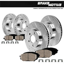 Front & Rear Drilled Slotted Brake Rotors And Ceramic Pads Jeep Grand Cherokee