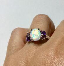 Amethyst, Pink Tourmaline, Rhodolite Garnet & LC Opal Ring in Sterling Silver