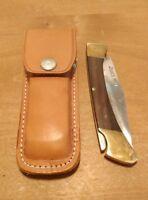 Vintage Jaws 703 Folding Lock Back Pocket Knife 4 Inch Blade with Leather Case