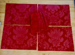 Four Martha Stewart Red Damask Placemats with Matching Napkins