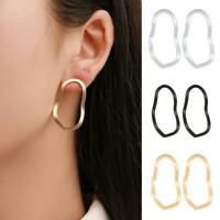 Women Geometrical Wave Round Earrings Metal Stud Dangle Earring Jewelry