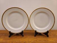 """Set of 2 H&Co Bavaria Heinrich Gold Encrusted Rim 9 3/4"""" Dinner Plates"""