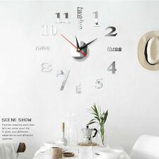 Modern DIY Large Wall Clock 3D Mirror Surface Sticker Decor Home Office Room