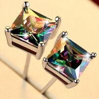 925 Silver Princess Cut Mystic Rainbow Topaz Stud Earrings Wedding Party Jewelry