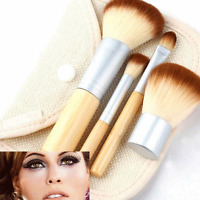 4pcs Pro Makeup Kabuki Brushes Cosmetic Blush Brush Foundation Powder Kit Set