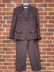 TAHARI Women 2 PC Career Linen Blend Brown Straight Pant Suit 8 Medium Blazer