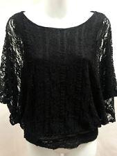 Adiva USA M Top Black Lace Dolman Sleeve Romantic Club Wear