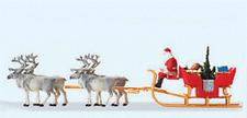 HO Preiser 30399 Christmas Sleigh with SANTA , Packages & Four Reindeer Figures