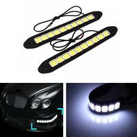 2PCS 12V 10 LED DRL COB Strip Lamp Waterproof Car Fog Daytime Running Light New