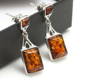 NATURAL BALTIC AMBER STERLING SILVER 925 Earrings Droop Dangle Certified & BOX