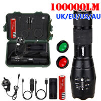 100000LM Red/Green T6 LED Torch Tactical Military Zoomable Flashlight Headlamp
