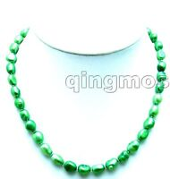 "SALE Big 7-9mm Green BAROQUE natural Freshwater PEARL 17"" Necklace-nec5804"
