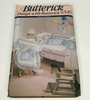 Butterick Crafts Sewing Pattern 6549 Baby Room Items Crib Quilt Diaper Stacker